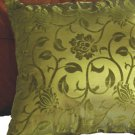 "Floral Leaves Pillow Cushion Cover 19"" Green/Brown"