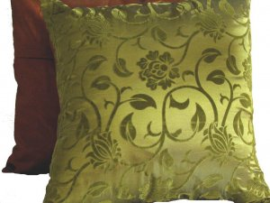 """Floral Leaves Pillow Cushion Cover 19"""" Green/Brown"""