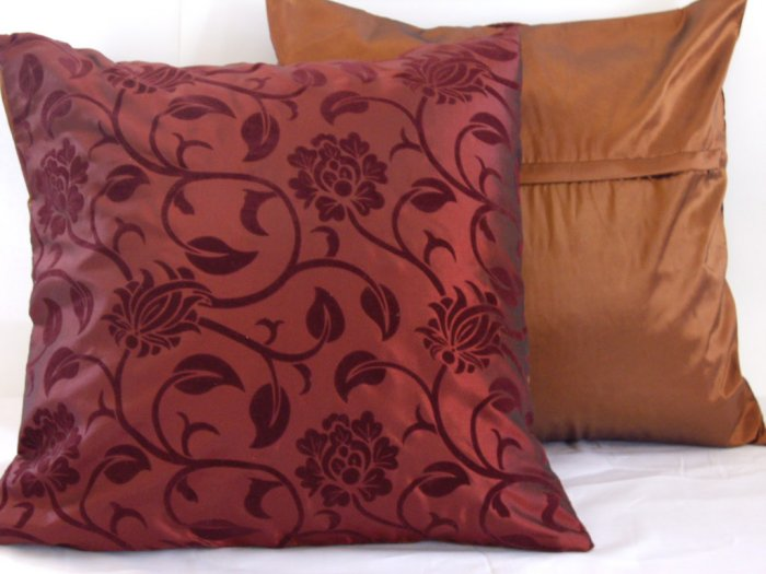 """Floral Leaves Pillow Cushion Cover 19"""" Burgundy/Brown"""