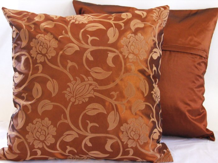 """Floral Leaves Pillow Cushion Cover 19"""" Bronze/Bronze"""