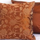"Floral Leaves Pillow Cushion Cover 19"" Bronze/Bronze"
