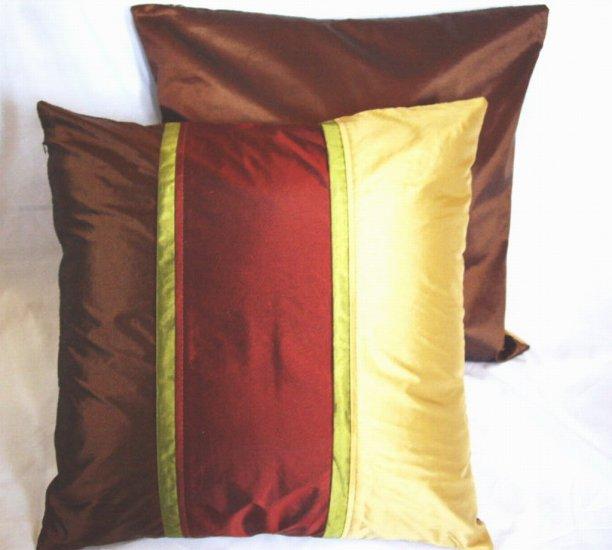 """Trio Stripe Pillow Cushion Cover 20"""" Gold/Burgundy/Brown"""
