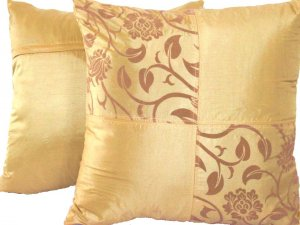 "Quad FloralLeaves Pillow Cushion Cover 20"" Gold"