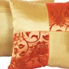 "Quad 2-tone Pillow Cushion Cover 20"" Gold/Orange"