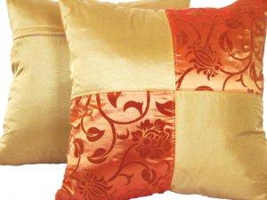 "Quad 2-tone Pillow Cushion Cover 20"" Gold/Orange"