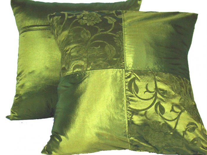 """Quad FloralLeaves Pillow Cushion Cover 20"""" Olive Green"""