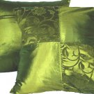 "Quad FloralLeaves Pillow Cushion Cover 20"" Olive Green"