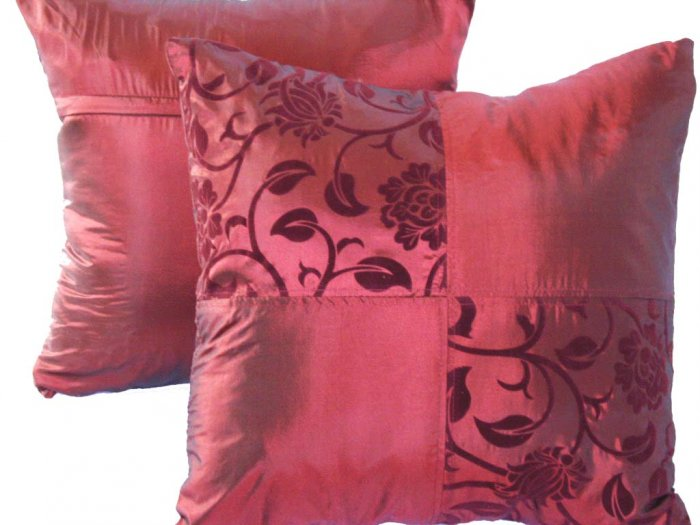 "Quad FloralLeaves Pillow Cushion Cover 20"" Burgundy Red"