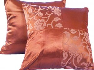 "Quad FloralLeaves Pillow Cushion Cover 20"" Bronze"