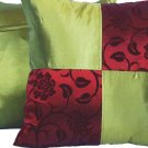 "Quad 2-tone Pillow Cushion Cover 20"" Burgundy/Olive Green"