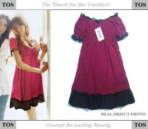 Purple Yarn-sided Cotton One Piece Dress