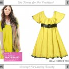 Yellow Wide-sleeve Cotton One Piece Dress ( Free Shipping Worldwide )