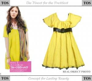 Yellow Wide-sleeve Cotton One Piece Dress ( Free Shipping Worldwide )