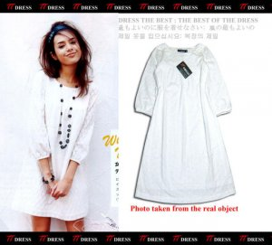 Pure White High Class Pattern Cotton One Piece Dress