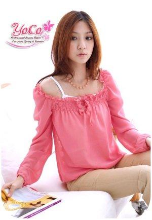 Ladies Hot Pink Chiffon Adorable Blouse