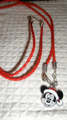Red Christmas Necklace with Mickie Mouse Pendant