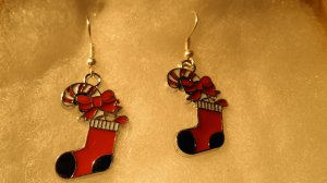 Christmas Bowknot Stocking Pendants Earrings
