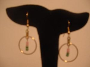 Pink and Green Beaded Hoops