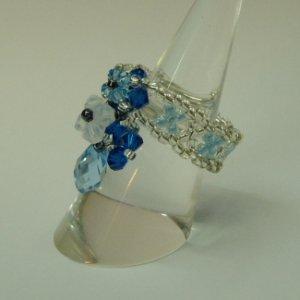Tear Drop Crown Pearl of Blue Ocean Ring