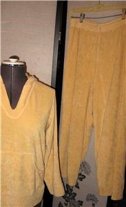 CHICOS SPA SUNSHINE HOODIE SWEAT SUIT SZ 1 & 2 LARGE MED
