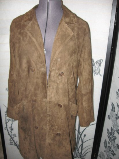 J JILL SATIN LINED LONG BROWN SUEDE LEATHER COAT.