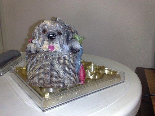 Dog In Basket Coinbank