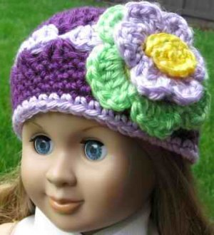 Hand Crocheted Doll Beanie Hat for American Girl or Gotz or 18 inces Dolls