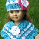 Hand Crocheted 2pc poncho and hat for American Girl or Gotz or 18 inces Dolls