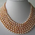 "Gorgeous 116"" lustrous pink FW pearl necklace"