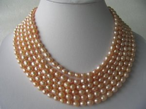 """Gorgeous 116"""" lustrous pink FW pearl necklace"""
