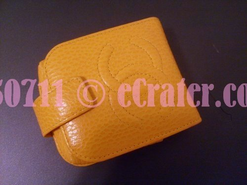 Vintage Yellow Chanel Compact Wallet with Mirror in the USA