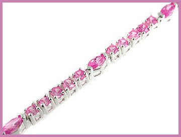 Oval Round Created Pink Sapphire 925 Silver Bracelet 7""