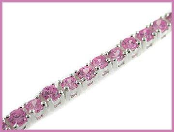 "Round Created Pink Sapphire 925 Silver Bracelet 6.5"""