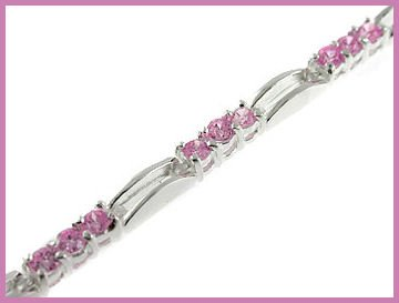 38 Round Created Pink Sapphire 925 Silver Bracelet 7""