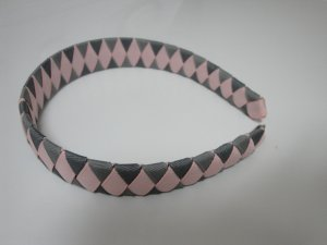 Woven Headband (Pink and Gray)