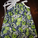 Navy, green & white print pillowcase dress, 3T, free shipping