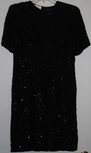 Silk Sequin Beaded Formal Cocktail Dress Size 8