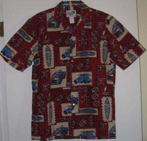 Men's Woody Surf Board Hawaiian Shirt by Paradise Style Size Small