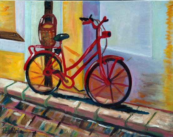 Parked Red Bicycle, Original Oil Painting