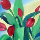 Red Tulips, Original Oil Painting