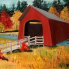 Covered Bridge Over Water, Original Oil Painting
