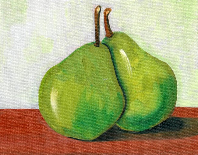 Cozy... Green Pears, Original Oil Painting