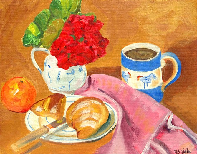 Continental Breakfast, Original Oil Painting