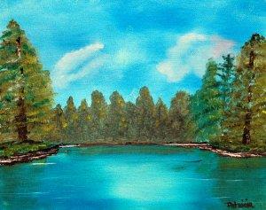 At the Lake, Original Oil Painting