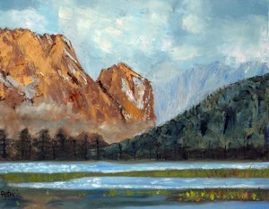 Mountain Lake, Original Oil Painting