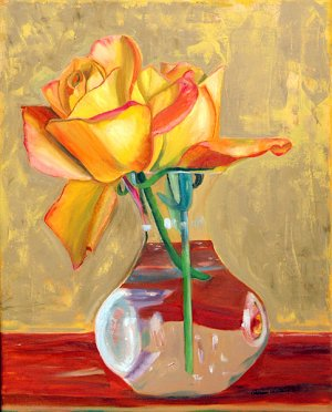 Two Yellow Roses, Original Oil Painting