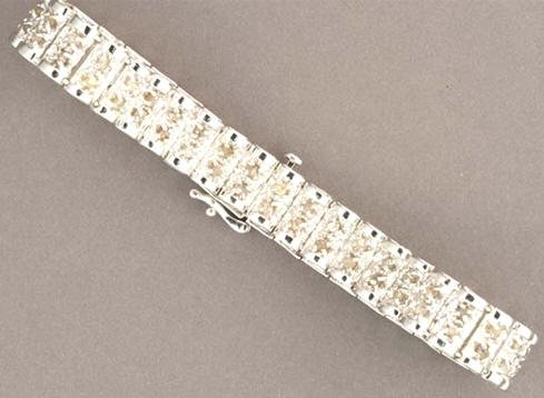 3 Cttw Full Round Cut Diamond /Sterling Silver Bracelet