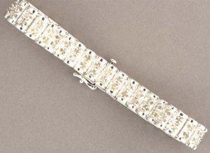 3 Cttw Full Round Cut Diamond /Sterling Silver Bracelet