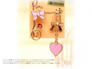 bling bling heart earrings set