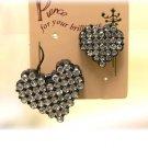 black mosaic heart earrings